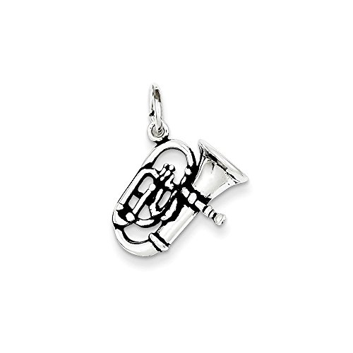 Sterling Silver 3-D Polished Musical Instrument Antiqued Alto Horn Charm Length 23mm