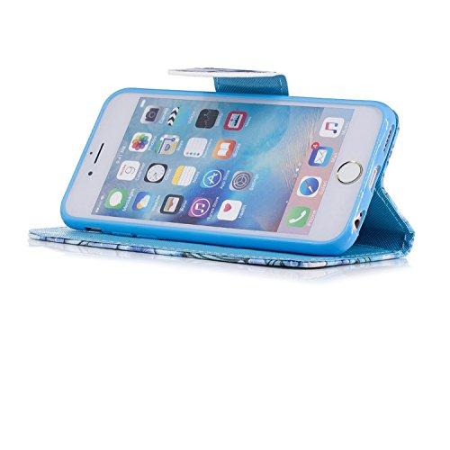 iPhone 6 6S Hülle, Chreey PU Leder Schutzhülle mit Panda Kopf Muster Blau Bumper Flip Wallet Case Handyhülle Schmetterling