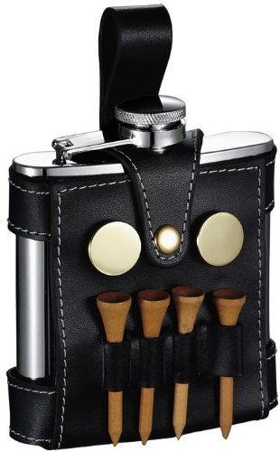 - Personalized Visol GB Light 5 oz Flask with Black Leather Wrap and Golf Tools and Free Engraving