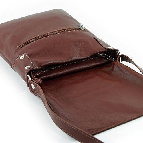 modamoda - ital. Ledertasche Schultertasche Umhängetasche Damentasche Nappaleder T33 Kastanienbraun XPsIVsKBr