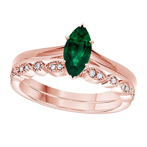 1.00 Ct Marquise Shape & Round Cut Green Emerald & White CZ Diamond 14k Rose Gold Plated Art Deco Vintage Design Wedding Bridal Set Engagement Ring