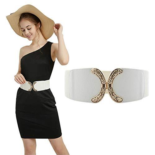 (VOCHIC Wide Belt for Womens Ladies Elastic Stretch Interlock Buckle Thick Waist Band for Dress)