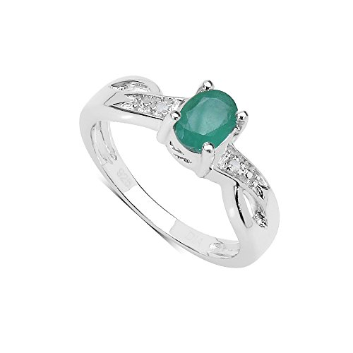 The Emerald Ring Collection: Beautiful Sterling Silver Oval Emerald...