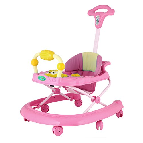 DULPLAY Plegable Andadores bebes, 6-18 meses Sit-a-soporte de aprendizaje walker,Tipo u prevenir rollover Música y luces Pelea de a pie Seguridad 1-D 27x24inch