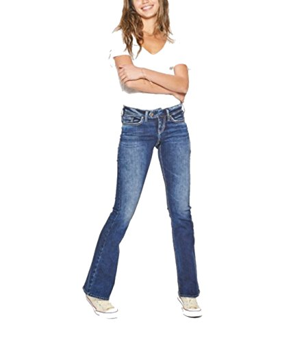 Silver Jeans Women's Tuesday Mid Rise Bootcut, Dark Destroyed Pockets, - Rise Rise Mid Low Jeans
