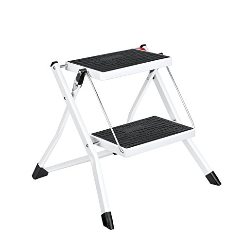 Delxo Step Stool Stepladders Lightweight White Folding Step Ladder with Handgrip Anti-slip Sturdy and Wide Pedal Steel Ladder Mini-Stool 250lbs 2-Feet (WK2031D) (Mini Ladder)