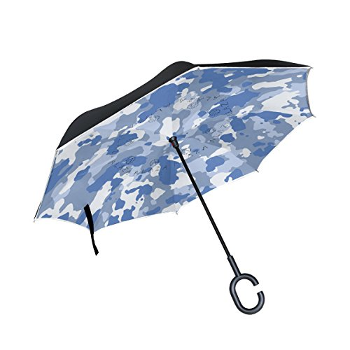 Military Camo Camouflage Pattern Print Inverted Double Layer Umbrella Waterproof Auto Open Reverse Folding Upside Down Car Umbrellas with C Shape Handle by super3Dprinted