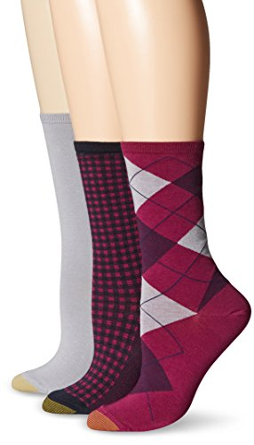 Argyle Knit Dress (Gold Toe Women's Argyle Fashion Flat Knit Gingham Crew Sock, Winterberry/Grey Heather/Midnight, 9-11)