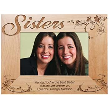personalized sisters picture frame engraved fits 4x6 photo