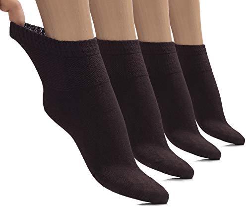 Womens High Ankle Diabetic Socks Seamless (Dark Brown, Shoe size: 11-13)