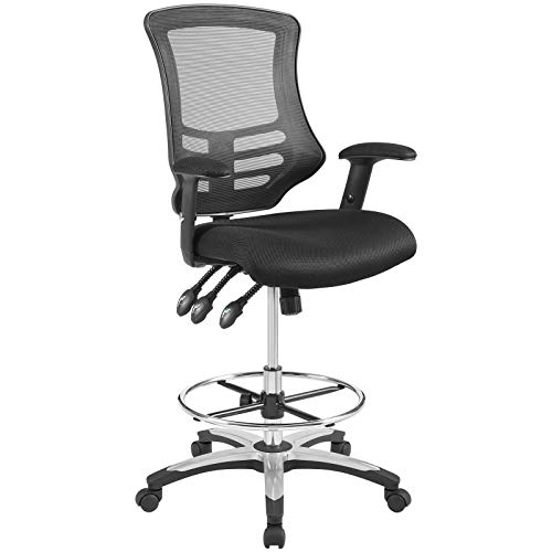 Companion Arm Guest Chair - Modway EEI-3043-BLK Calibrate Mesh Drafting Black-Tall Office Chair for Adjustable Standing Desks