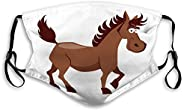 Melvin L Washable and Reusable Face Mask Cute Smiling Horse Reusable Cover