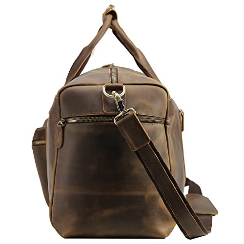 Texbo Men's Thick Cowhide Leather Vintage Big Travel Duffle Luggage Bag (Brown X Large 25'') by Texbo (Image #1)