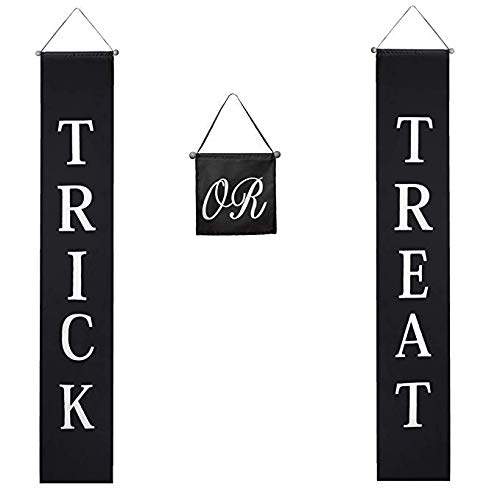 Simple Scary Halloween Treats (Besti Trick or Treat Banner Halloween Decorations (3-Piece Set) Indoor and Outdoor Door Hanging Decor | Cute Home or Office Display | Easy to Hang, Reusable)