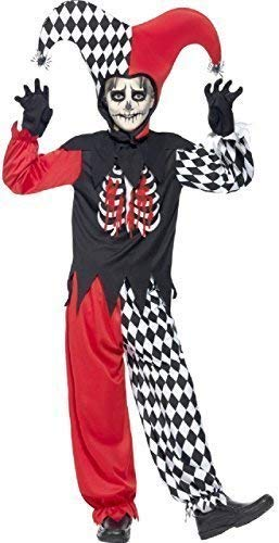 75a1e0de393ac Boys Girls Teens Blood Curdling Jester Harlequin Clown Circus Medieval Halloween  Carnival Fancy Dress Costume 7