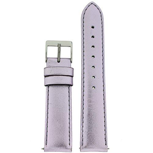 Watch Band Lavender Purple Metallic Genuine Leather Ladies 12 millimeter ()