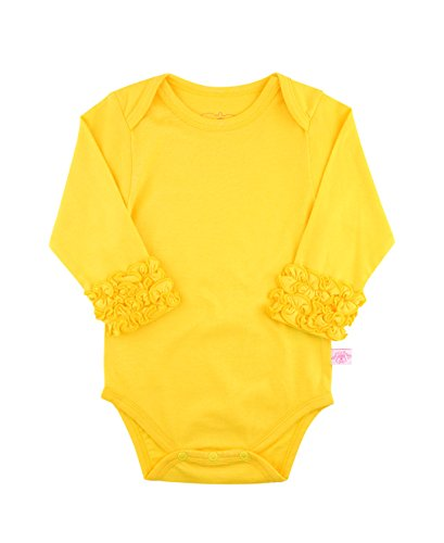 RuffleButts Infant/Toddler Girls Long Sleeve One Piece Under Bodysuit - Yellow - 18-24m Yellow Long Sleeve Onesie