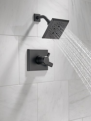 DELTA Pivotal 17 Series Dual-Function Shower Faucet, Shower Trim Kit, 5-Spray H2Okinetic Shower Head, Matte Black T17299…