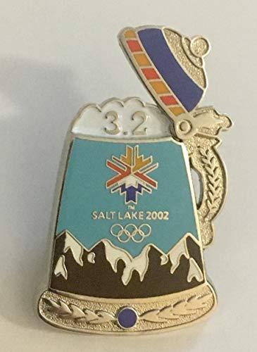 2002 Salt Lake City Winter Olympics Logo Mountain Beer Stein 3.2 Pin