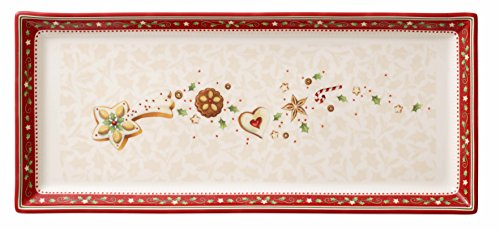 Winter Bakery Delight Cake Plate by Villeroy & Boch - Perfect for Christmas Gift or Entertaining - Premium Porcelain - Dishwasher and Microwave Safe - Gift Boxed – 15.25 x 6.5 Inches (Rectangular Red Platter Cake)
