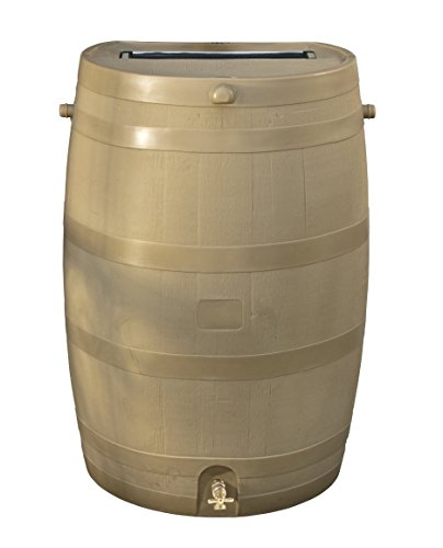 - RTS Home Accents 50-Gallon Rain Water Collection Barrel with Brass Spigot, Tan