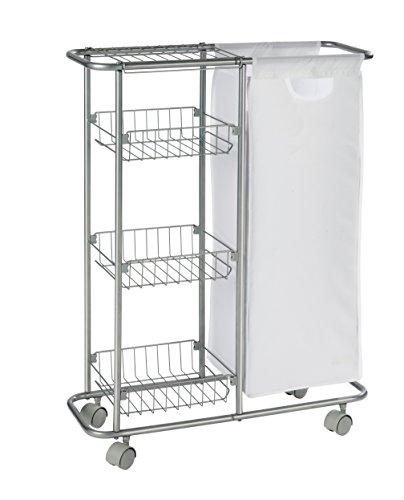WENKO 12100100 Sammelwagen Slim - 3 Etagen, abnehmbarer Sack, Fassungsvermögen 28 L, pulverbeschichtetes Metall, 20 x 58 x 80 cm, Grau