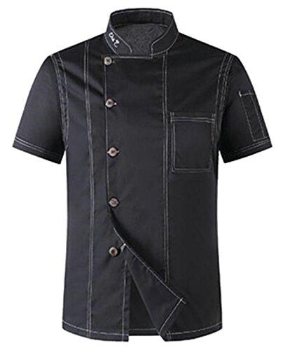 Cromoncent Men Short Sleeve Chef Jacket Kitchen Denim Breathable Coat Black Large (Coat Denim Chef)