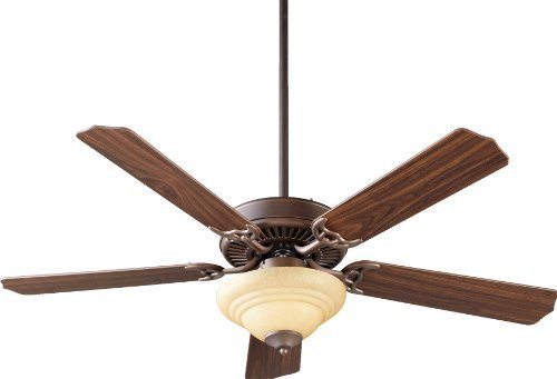 (Quorum International 77525-9486 Capri III 52-Inch 2 Light Ceiling Fan, Oiled Bronze Finish with Amber Scavo Glass Light Kit and Reversible Blades by Quorum International)