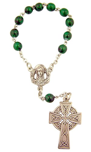Beaded Irish Bracelet (Green One Decade Celtic Cross Beaded Rosary Bracelet, 4 Inch)