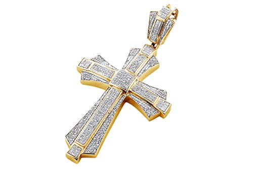 - Round Cut White Natural Diamond Iced Out Hip Hop Jewelry Cross Charm Pendant in Sterling Silver (1 Cttw)