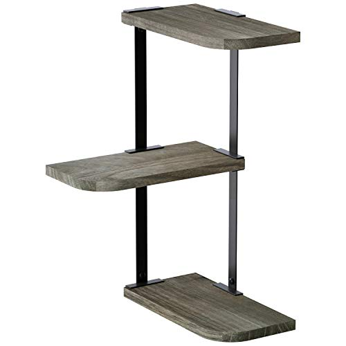 Love-KANKEI Corner Shelf Wall Mount 3 Tier Rustic Wood Floating Shelves for Bedroom Living Room Bathroom Kitchen Weathered Grey