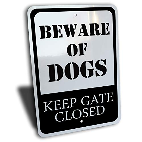 """Wake Up Signs Beware of Dogs Keep Gate Closed Sign, Aluminum, Black, 7"""" by 10"""""""