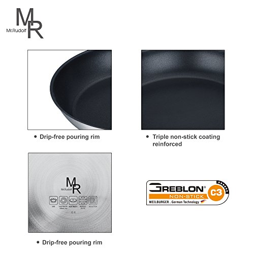 Mr. Rudolf Nonstick 18/10 Stainless Steel 12-inch Wok Stir-Fry Pan with Glass Lid Dishwasher Safe PFOA Free Oven Safe