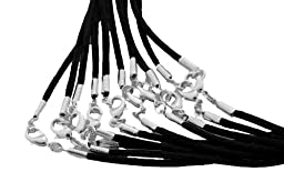 Find-Its Black Satin Cords with Silver Lobster Clasp, 20-Inch