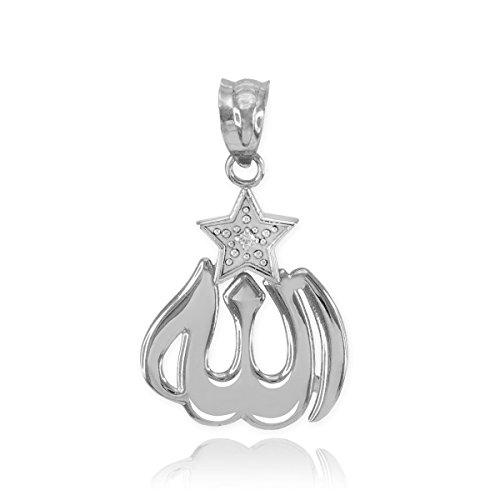 925 Argent Fin Oxyde de Zirconium Allah Etoile Collier
