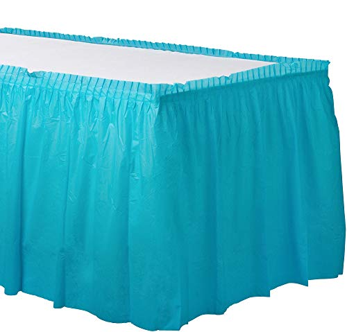 Caribbean Blue Plastic Table Skirt | Party -