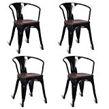Cheap Costway Tolix Style Dining Chairs Industrial Metal Stackable Armrest Chairs Bistro Metal Wood Furniture, Set of 4 (Black)