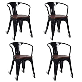 Costway Tolix Style Dining Chairs Industrial Metal...