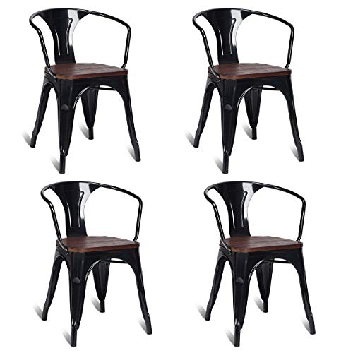 Costway Tolix Style Dining Chairs Industrial Metal Stackable Armrest Chairs Bistro Metal Wood Furniture, Set of 4 Black