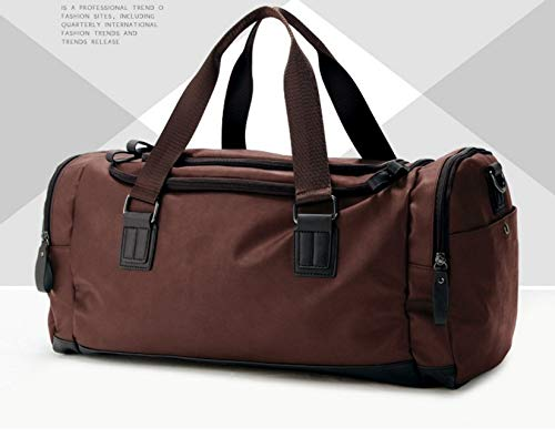 Color : Brown Mens Fitness Bag Leisure Travel Tote Bag Large Capacity Shoulder Diagonal Travel Bag Male