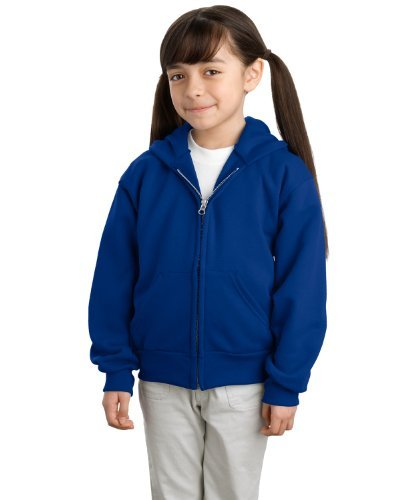 Port & Company Youth Full Zip Hooded SweatShirt, Royal, Medium by PORT AND COMPANY