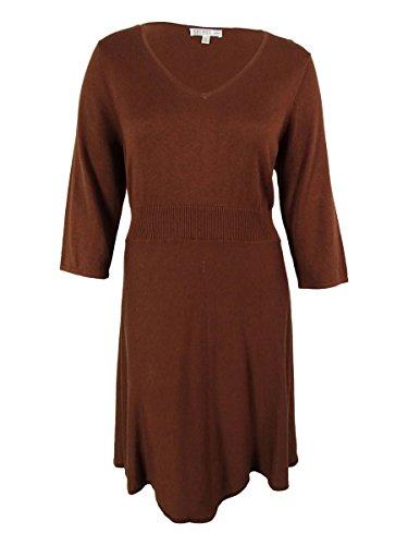 Spense Women's 3/4 Sleeves Sweater Dress (1X, Whiskey) (3/4 Spense Sleeve)