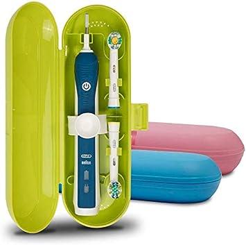 Cepillo de dientes eléctrico de plástico Estuche de viaje compatible con Oral-B la serie Pro, 3 paquetes (azul, rosado y verde): Amazon.es: Salud y cuidado personal