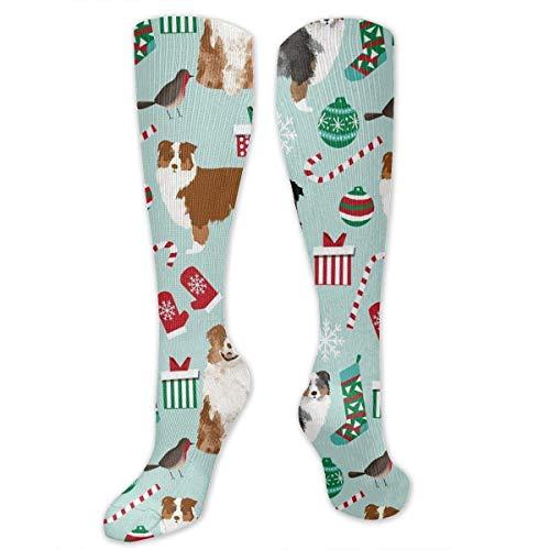 Ashley Lauren Mia Fashion Compression Socks for Women & Men Nurses Runners-Suitable for Ttravel, Pregnant Women, Running, Sports,Varicose Veins-Australian Shepherd Christmas Cute Aussie Dogs ()