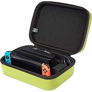 AmazonBasics - Estuche rígido de transporte y almacenamiento para Nintendo Switch, 30,5 x 12,2 x 22,9 cm, amarillo neón