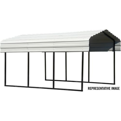 Style Peak Boat (Arrow 29 Gauge Carport, Galvanized Steel Roof Panels, 10'x20'x7')