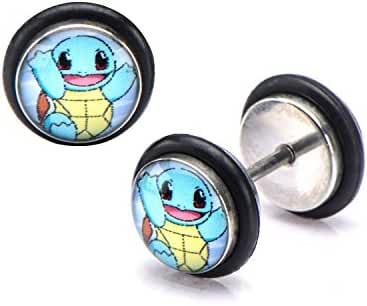 Pokemon Squirtle Fronts 18g Stainless Steel Faux Plugs