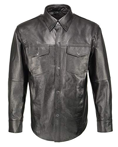 M Boss Apparel BOS11600 Mens Black Classic Snap Front Leather Shirt - X-Large
