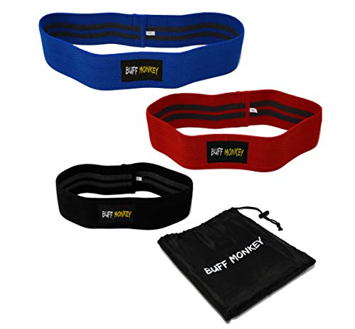 Buff Monkey Hip Resistance Band Set - Hip Band 3 pack, Hip Resistance, Low, Medium and Heavy Loop Set - Booty Exercise Resistance Bands - Perfect workout bands for Squatting, Pilates and Crossfit by Buff Monkey