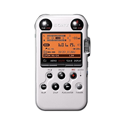 Sony PCM-M10 Portable Linear PCM Voice Recorder with Electret Condenser Stereo Microphones, 96 kHz/24-bit, 4GB Memory & USB High-Speed Port - White